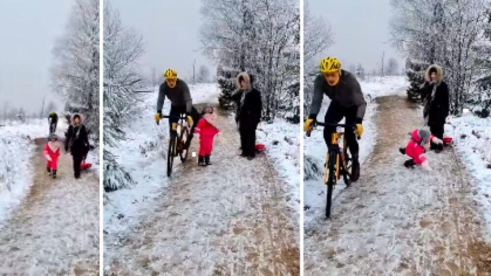Ginocchiata ciclista alla bimba. Alcune immagini dell'accaduto