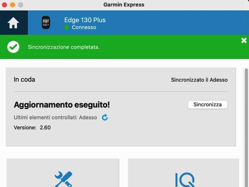 Esempio di schermata Garmin Express